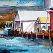 Fishing Boat And Dock Watercolor Art Print
