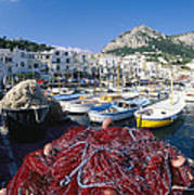 Fishing Boats And Nets In The Marina Art Print