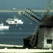 Fishing Boats And Windmill In Chatham On Cape Cod Massachusetts Art Print