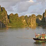 Fishing Boats At Sunset, Halong Bay Art Print