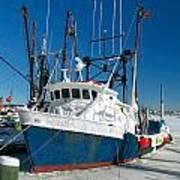 Fishing Boats In Frozen Hyannis Harbor Art Print