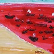 Fishing Boats On A Red Sea Art Print