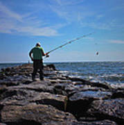 Fishing Off Of The Jetty Art Print