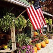 Flag Among The Pumpkins Art Print