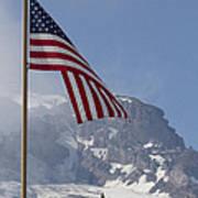 Flag And The Mountain Art Print