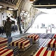 Flag Draped Coffins Of Five Us Soldiers Art Print