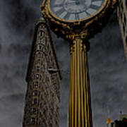 Flatiron Building And Clock Art Print