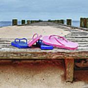 Flip Flops On The Dock Art Print