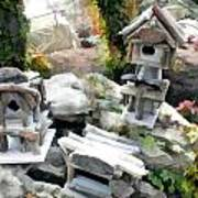 Flock Of Rustic Birdhouses Art Print