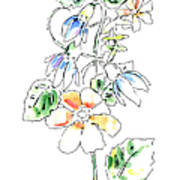 Floral Watercolor Paintings 4 Art Print