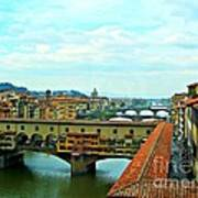 Florence Shopping Bridge Art Print