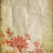 Flower Pattern On Old Paper Art Print