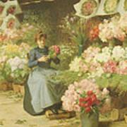 Flower Seller In Front Of The Madeleine Church Art Print