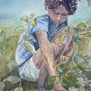 Flowers For Her Hair Art Print by Dorothy Herron