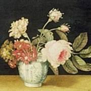Flowers In A Delft Jar  Art Print