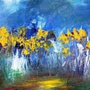Flowers Of Maze In Blue Art Print