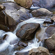 Flowing Water Down The Colorado St Vrain River Art Print