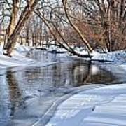 Flowing Water In The Winter Art Print