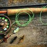 Fly Fishing Rod With Polaroids Pictures On Wood Art Print