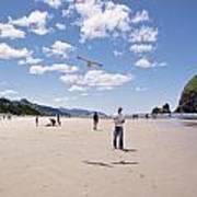 Flying A Bird Kite Near Haystack Rock Canon Beach Oregon Usa Art Print