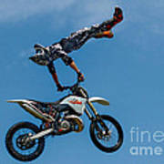 Flying High Motorcyle Tricks Art Print