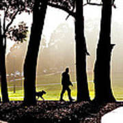 Foggy Day To Walk The Dog Art Print