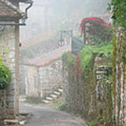Foggy Lane In St Cirq Art Print