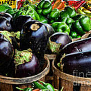 Food - Farm Fresh - Eggplant And Peppers Art Print
