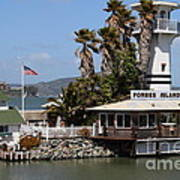 Forbes Island Restaurant With Alcatraz Island In The Background . San Francisco California . 7d14261 Art Print by Wingsdomain Art and Photography