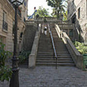 Foreshortening Of Montmartre With Street Lamp And Staircase Art Print