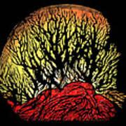 Forest Fire, Lino Print Print by Gary Hincks