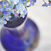 Forget Me Nots In Deep Blue Vase Art Print