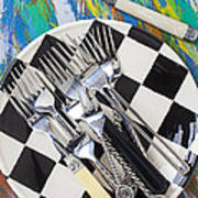 Forks On Checker Plate Art Print