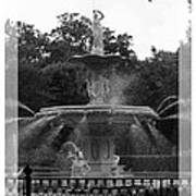 Forsyth Park Fountain - Black And White Art Print