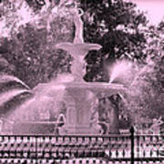 Forsyth Park Fountain In Pink Art Print