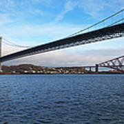 Forth Road Bridge And Forth Rail Bridge Art Print