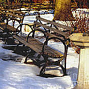 Fountain And Benches In Snow Art Print