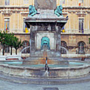 Fountain In Arles France Art Print