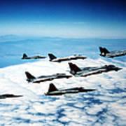 Four F-14 Tomcats And Three F-5 Tiger Art Print