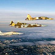 Four F-5 Tiger IIs Fly Above Southern Art Print
