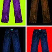 Four Pairs Of Blue Jeans - Painterly Art Print
