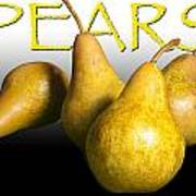 Four Pears With Yellow Lettering Art Print