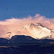 Four Skydivers With Longs Peak And Mount Meeker Rocky Mountain H Art Print