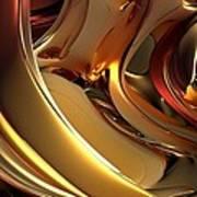 Fractal - Golden Metal Art Print