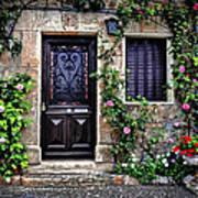 Framed In Flowers Dordogne France Art Print