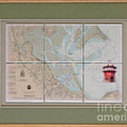 Framed Plymouth Bay With Lighthouse Tile Set Art Print