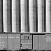 Freight Car And Grain Elevators Art Print