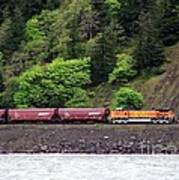 Freight Train Traveling Up The Gorge Art Print