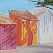 French Beach Huts Art Print by Siobhan Lawson