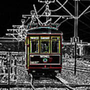 French Quarter French Market Cable Car New Orleans Color Splash Black And White With Glowing Edges Art Print